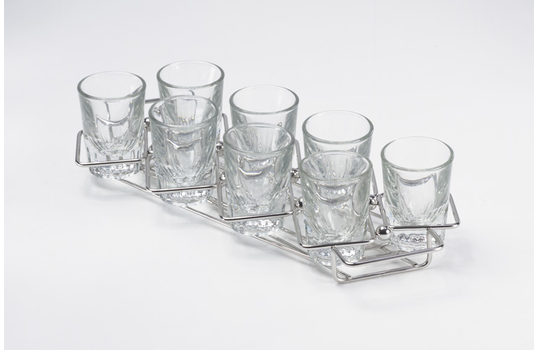 "11.75"" x 3.25"" Dessert Caddy w/ 8 Square Holders"