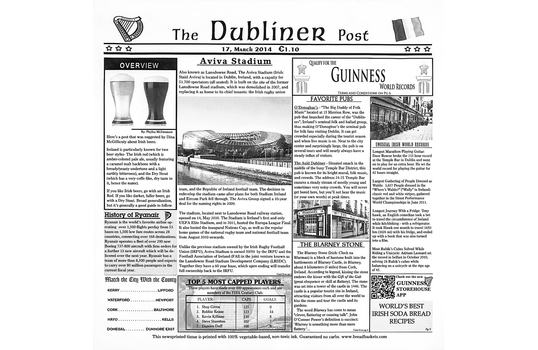 "12"" x 12"" Food-Safe Dublin Newsprint Liner, White"