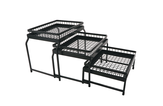 3-Tier Nesting Stand Set with Wire Baskets