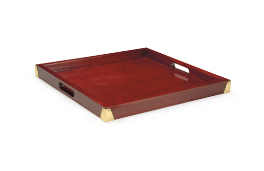 "21"" Square Hardwood Tray w/ Brass Reinforcement"