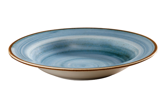 9.7 oz. Blue Porcelain Rimmed Soup Bowl
