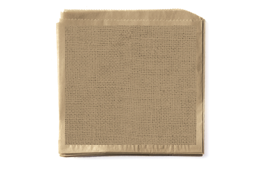"""7"""" x 7"""" Food-Safe Double-Open Bag / Wire Cone Basket Liner / Burlap on Brown Paper"""