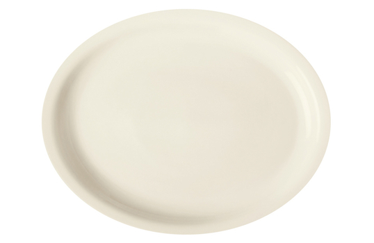"""13"""" x 11""""Cream White Porcelain Rolled Edge Oval Platter with Narrow Rim"""