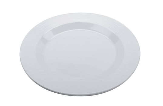 "12.5"" Melamine, White, Textured Rim, Round Dinner Plate"