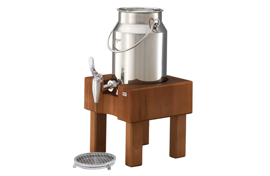 3.2 qt. Stainless Steel Milk Dispenser Set with Cherry Wood Stand