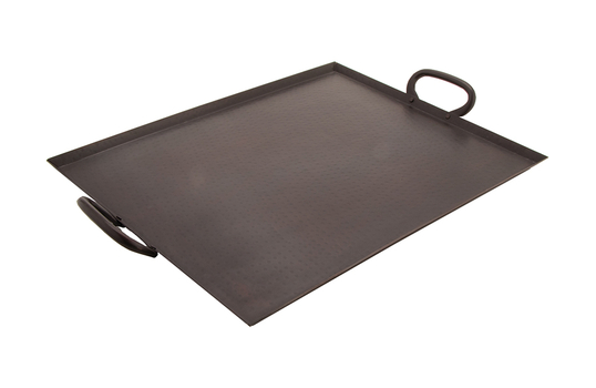 "19"" x 15"" Hammered Finish Tray w/ Handles .375"" H"