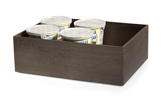"12"" x 9"" Rectangular Stackable Wood Display Box / Condiment Organizer, 4"" tall"