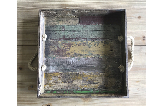 "15.5"" Square Reclaimed Wood Serving Tray"