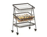 "21.5"" x 12.25"" Rectangular 3-Tier Mobile Merchandiser Stand w/ Wheels"